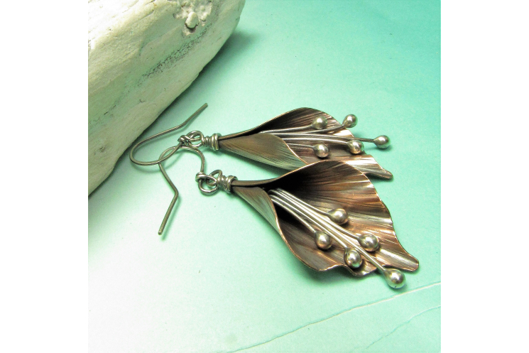 Copper And Sterling Silver Mixed Metal Lily Flower Earrings - Image 3
