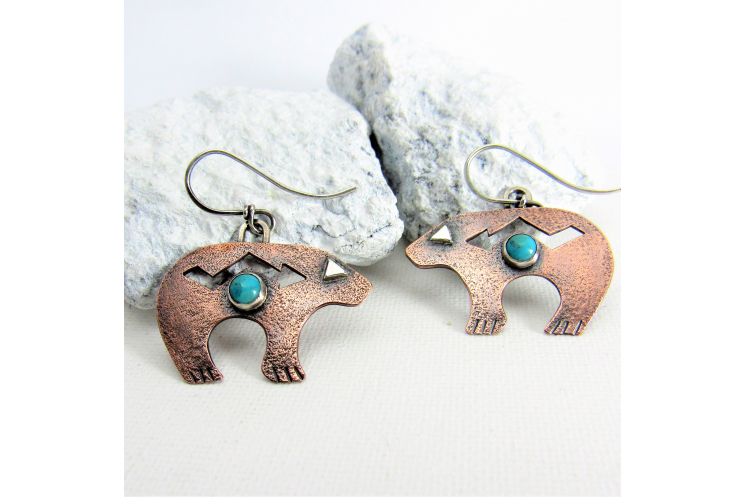 Copper And Turquoise Bear Earrings, Southwest Inspired Jewelry