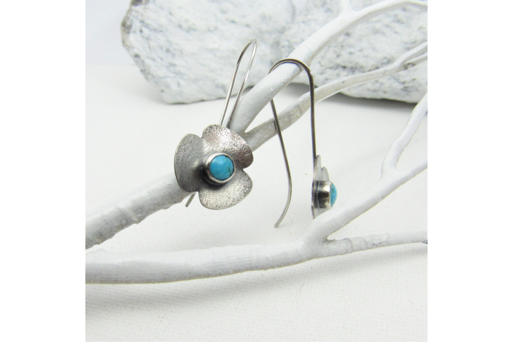 Sterling Silver Flower Earrings With Turquoise Stones