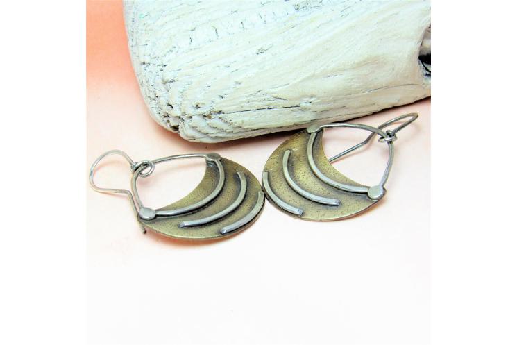 Small Tribal Fertile Crescent Earrings, Two Tone Mixed Metal Artisan Earrings 2