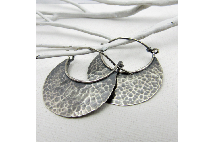 Large Hammered Sterling Silver Crrescent Hoops With Friction Clasp