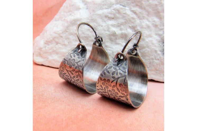 Flower Pattern Sterling Silver Basket Earrings