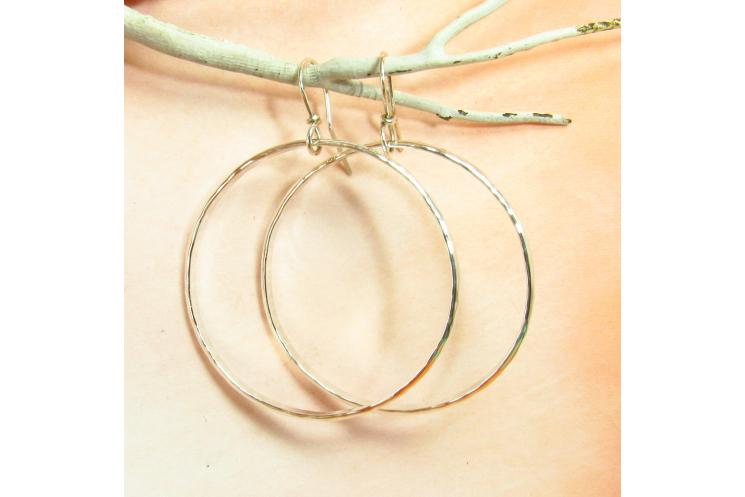 Large Hammered Argentium Sterling Silver Circle Hoop Earrings - 3