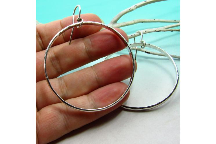 Large Hammered Argentium Sterling Silver Circle Hoop Earrings - 4