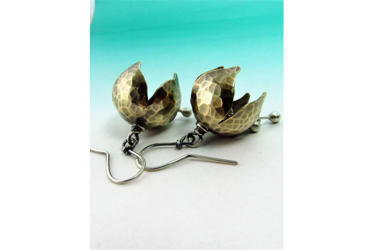 Mixed Metal, Nugold And Sterling Silver Tinkling Bell Flower Earrings - Image 2