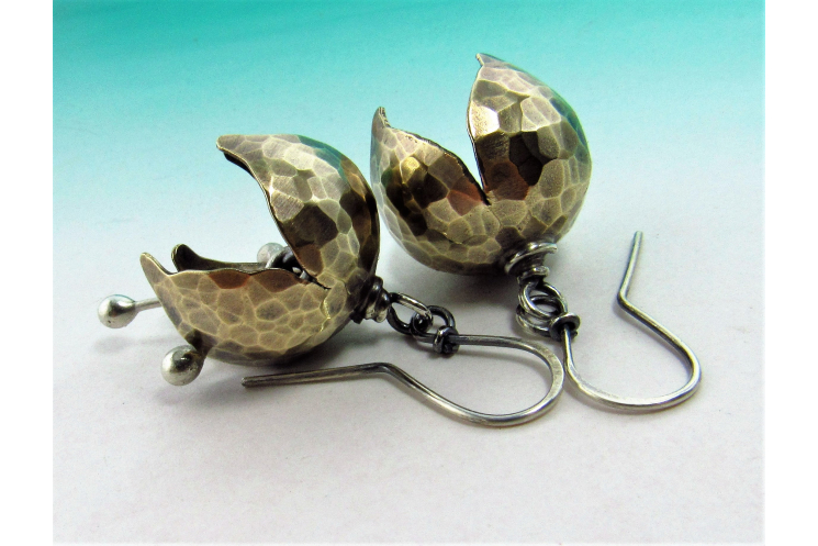 Mixed Metal, Nugold And Sterling Silver Tinkling Bell Flower Earrings - Image 1