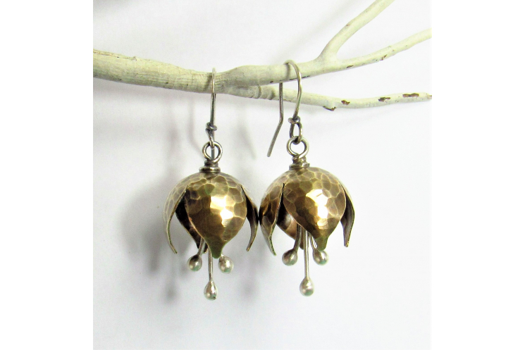 Mixed Metal, Nugold And Sterling Silver Tinkling Bell Flower Earrings - Image 4