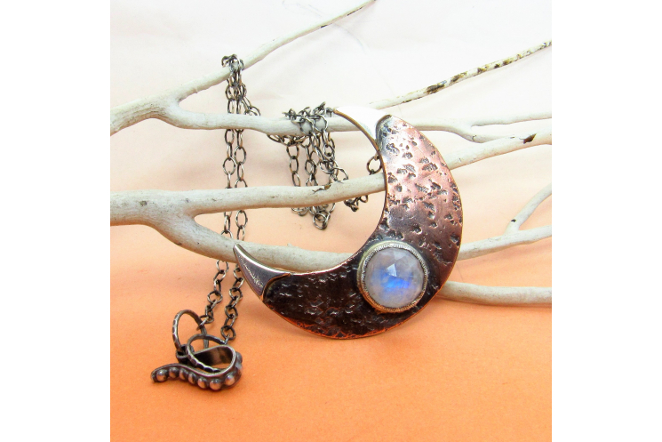 Rustic Copper, Sterling Silver And Rainbow Moonstone Crescent Moon necklace - 5