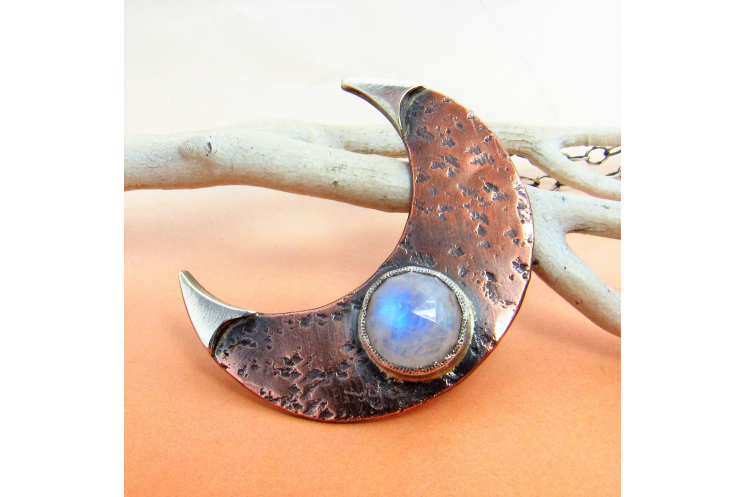 Rustic Copper, Sterling Silver And Rainbow Moonstone Crescent Moon Necklace - 1