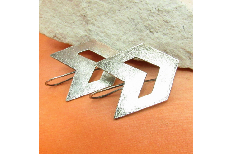 Contemporary Southwest Sterling Silver Chevron Earrings - Image 2
