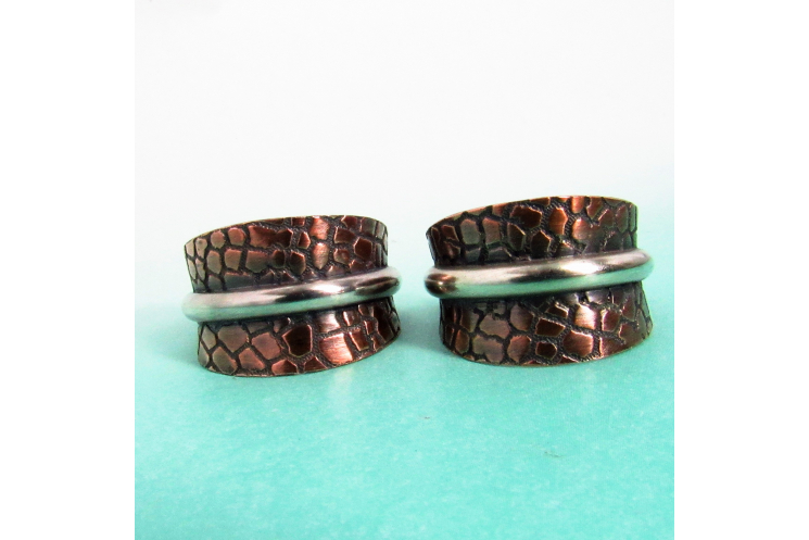 Two Tone Copper And Sterling Silver Basket Hoop Earrings - Image 3