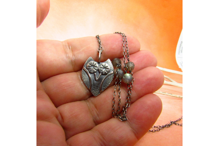 Sterling Silver Owl Necklace With Faceted Labradorite Accent Beads - Image 4