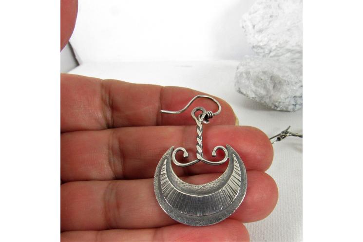 Akkadian Moon Dangle Earrings