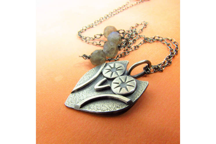 Sterling Silver Owl Necklace With Faceted Labradorite Accent Beads - image 1
