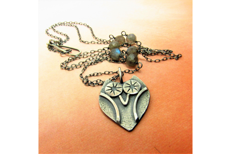 Sterling Silver Owl Necklace With Faceted Labradorite Accent Beads - Image 2
