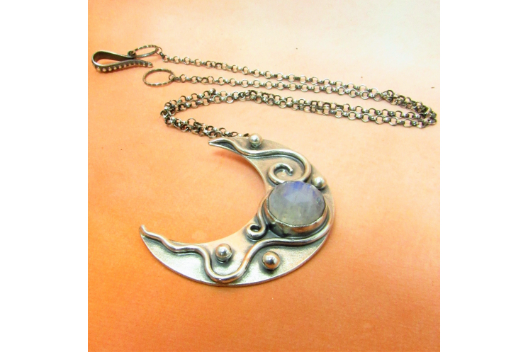 Moonstone Crescent Moon Pendant Necklace In Argentium Sterling Silver - 3
