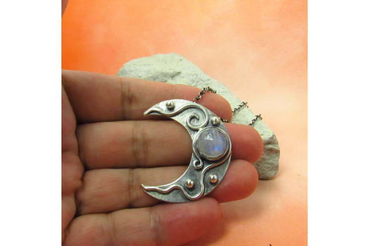 Moonstone Crescent Moon Pendant Necklace In Argentium Sterling Silver - 5