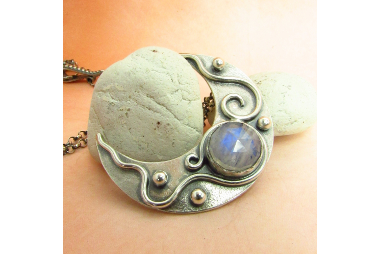 Moonstone Crescent Moon Pendant Necklace In Argentium Sterling Silver - 4