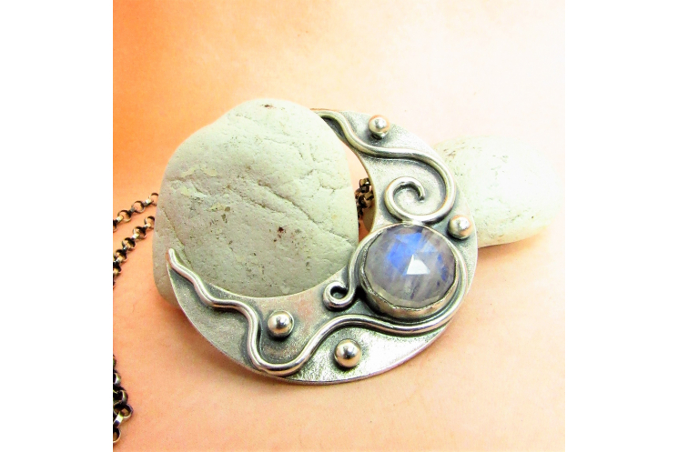 Moonstone Crescent Moon Pendant Necklace In Argentium Sterling Silver - 1