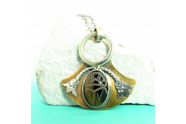 Bronze And Sterling Silver Tiger Eye Scarab Pendant Necklace, Egyptian Lotus 3