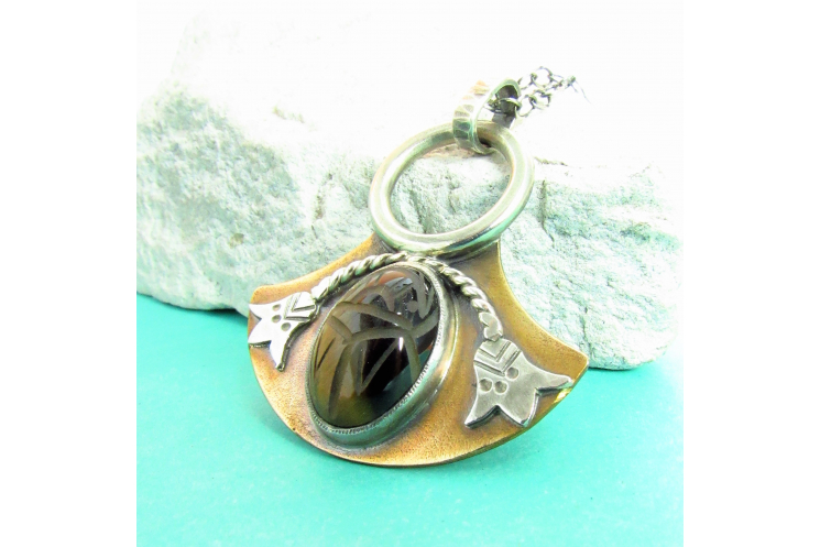 Bronze And Sterling Silver Tiger Eye Scarab Pendant Necklace, Egyptian Lotus 2