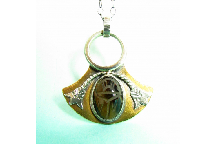 Bronze And Sterling Silver Tiger Eye Scarab Pendant Necklace, Egyptian Lotus 1