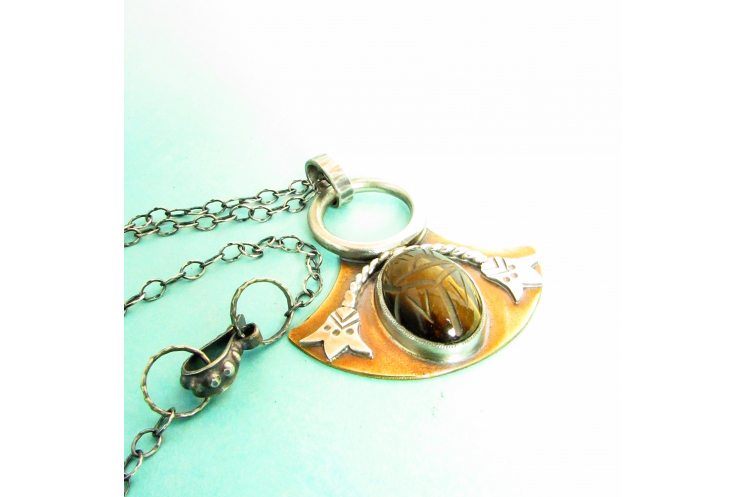 Bronze And Sterling Silver Tiger Eye Scarab Pendant Necklace, Egyptian Lotus 4