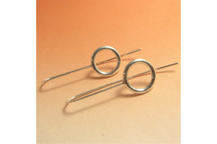 Contemporary Argentium Sterling Silver Geometric Circle Earrings Image 1