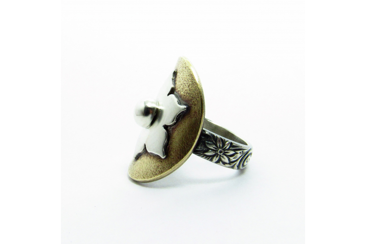 Bronze, Sterling And Fine Silver Lotus Ring Size 8 - Image 4