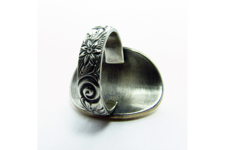 Bronze, Sterling And Fine Silver Lotus Ring Size 8 - Image 2