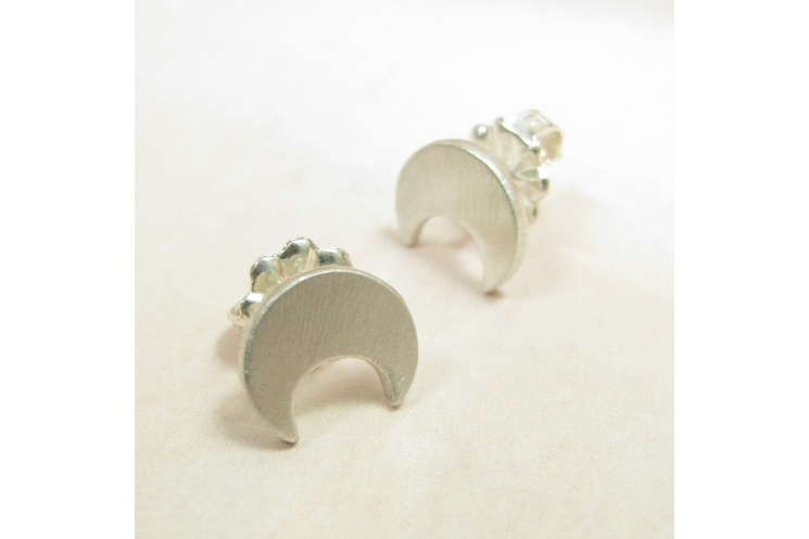 Sterling Silver Crescent Moon Stud Post Back Earrings - Image 4
