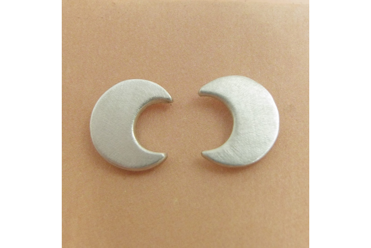 Sterling Silver Crescent Moon Stud Post Back Earrings - Image 2