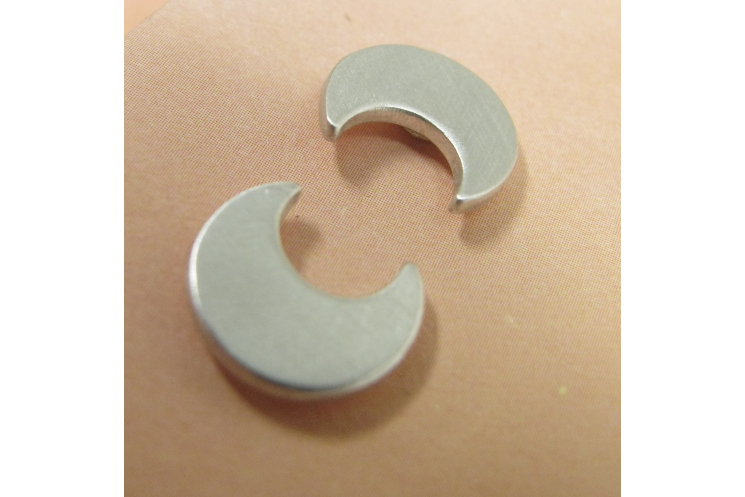 Sterling Silver Crescent Moon Stud Post Back Earrings - Image 3