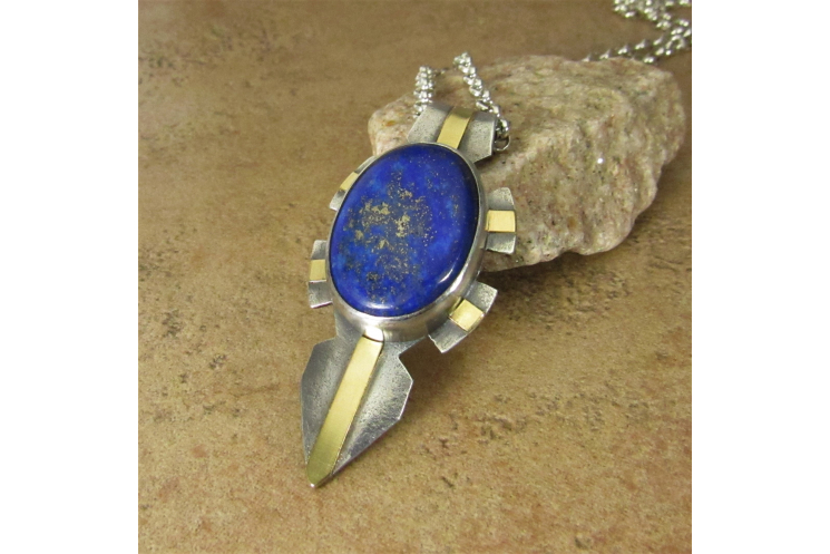 Sterling Silver, 18k Gold and Lapis Lazuli Pendant Necklace, Rugged, Modern
