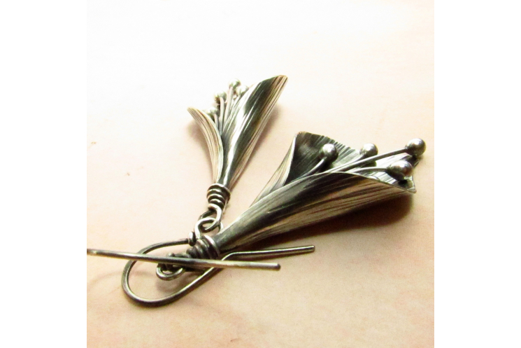 Large Argentium Sterling Silver Lily Earrings - 4