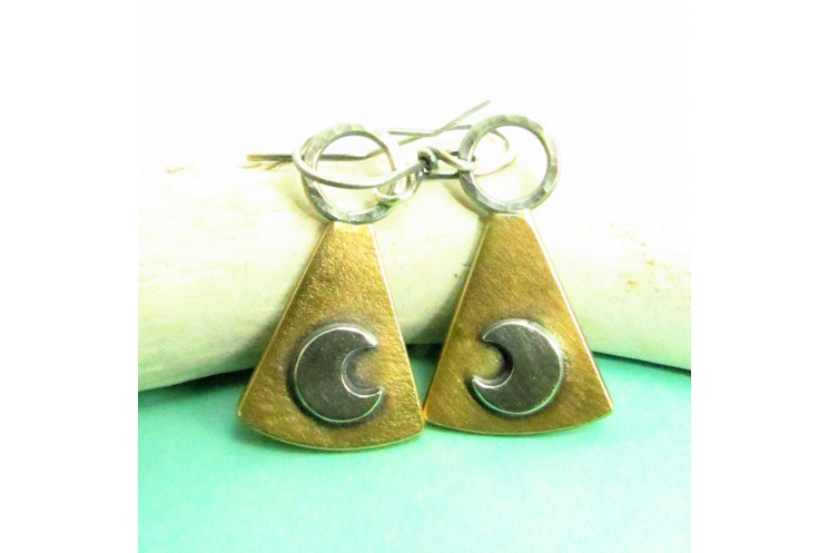 Mixed Metal Moon Earrings - 2