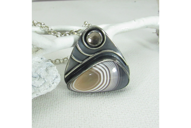 Botswana Agate Pendant Necklace In Sterling Silver With Smoky Quartz Accent