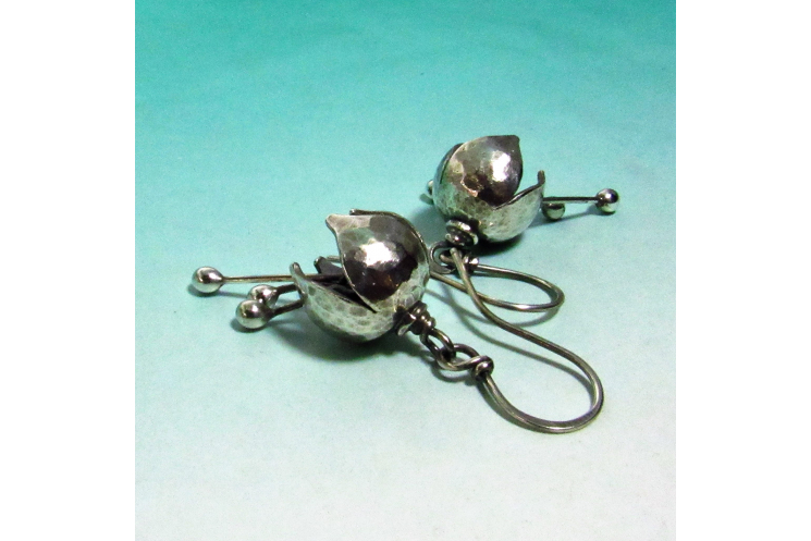 Small Argentium Bell Flower Earrings - 1