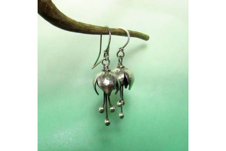 Small Argentium Bell Flower Earrings - 3