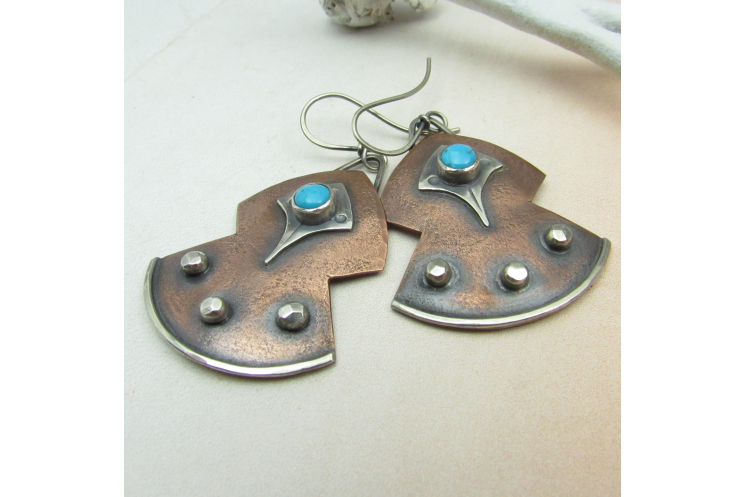 Turquoise, Copper And Sterling Silver Mixed Metal Earrings