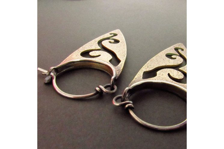 Bronze And Sterling Silver Pixie Spear Earrings - 3