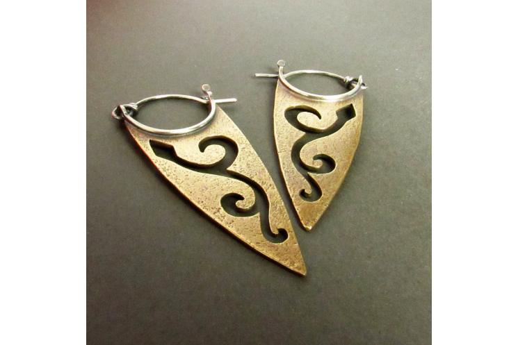Bronze And Sterling Silver Pixie Spear Earrings - 4