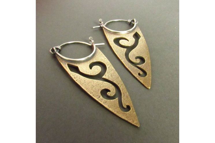 Bronze And Sterling Silver Pixie Spear Earrings - 2