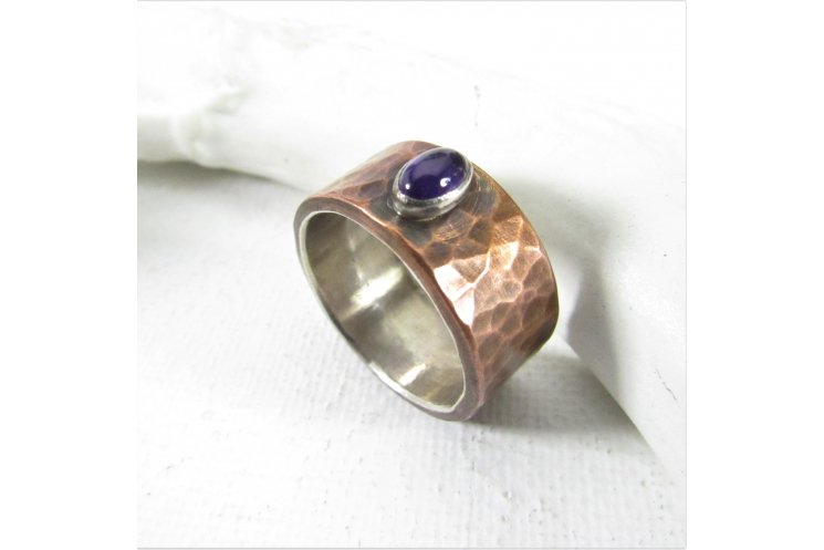 Size 7.5 Fine Silver Lined Hammered Copper Ring With Amethyst