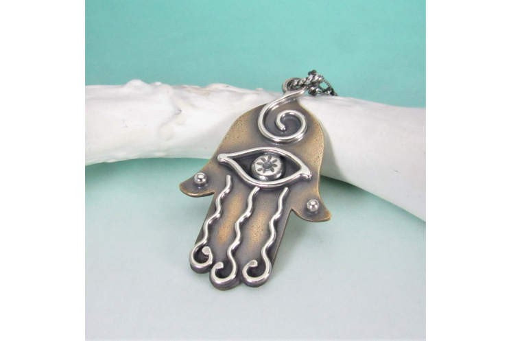 Sterling Silver And Bronze Hamsa Necklace