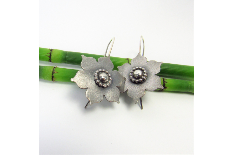 Large Sterling Silver Lotus Earrings, Handmade Bohemian Argentium Jewelry - 3