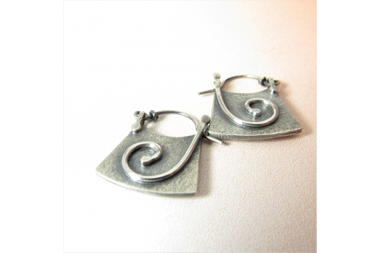 Small Contemporary Argentium Sterling Silver Spiral Hoop Earrings With Friction