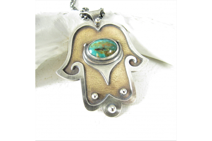 Bronze, Sterling Silver And Peruvian Blue Opal Hamsa Hand Necklace