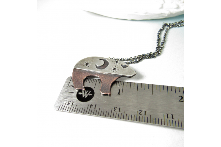 Sterling Silver And Copper Mixed Metal Ursa The Bear Necklace