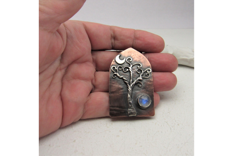 Open the Door Pendant Necklace, Mixed Metal Tree, Moon And Moonstone Necklace